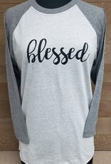 Blessed Baseball Tee Gray