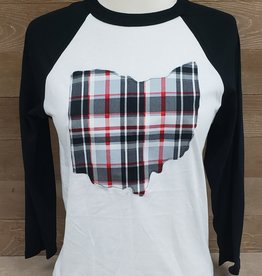 Ohio Plaid James Baseball Tee Black Sleeve
