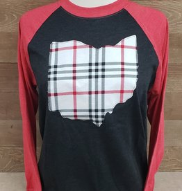 Ohio Plaid Seth  Baseball Tee Black w/ Red Sleeve
