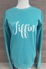 White Tiffin Script Crew Neck Sweatshirt Teal