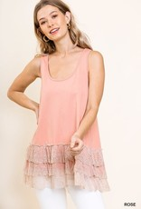 RUFFLED LACE TRIM TANK