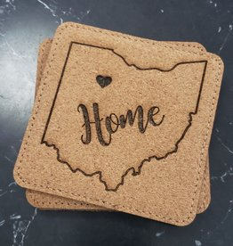 Square Ohio Home Cork Coasters