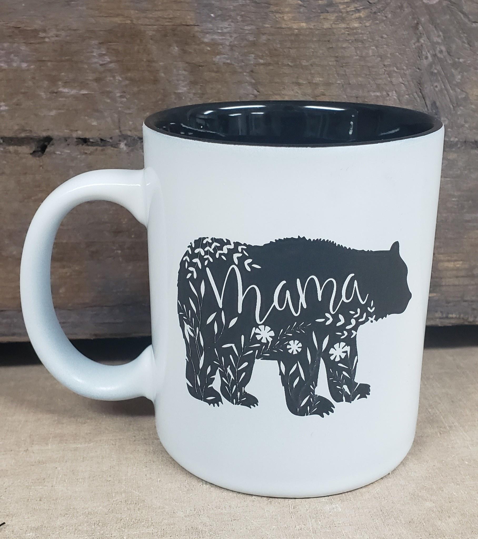Mama Bear Flower Mug White