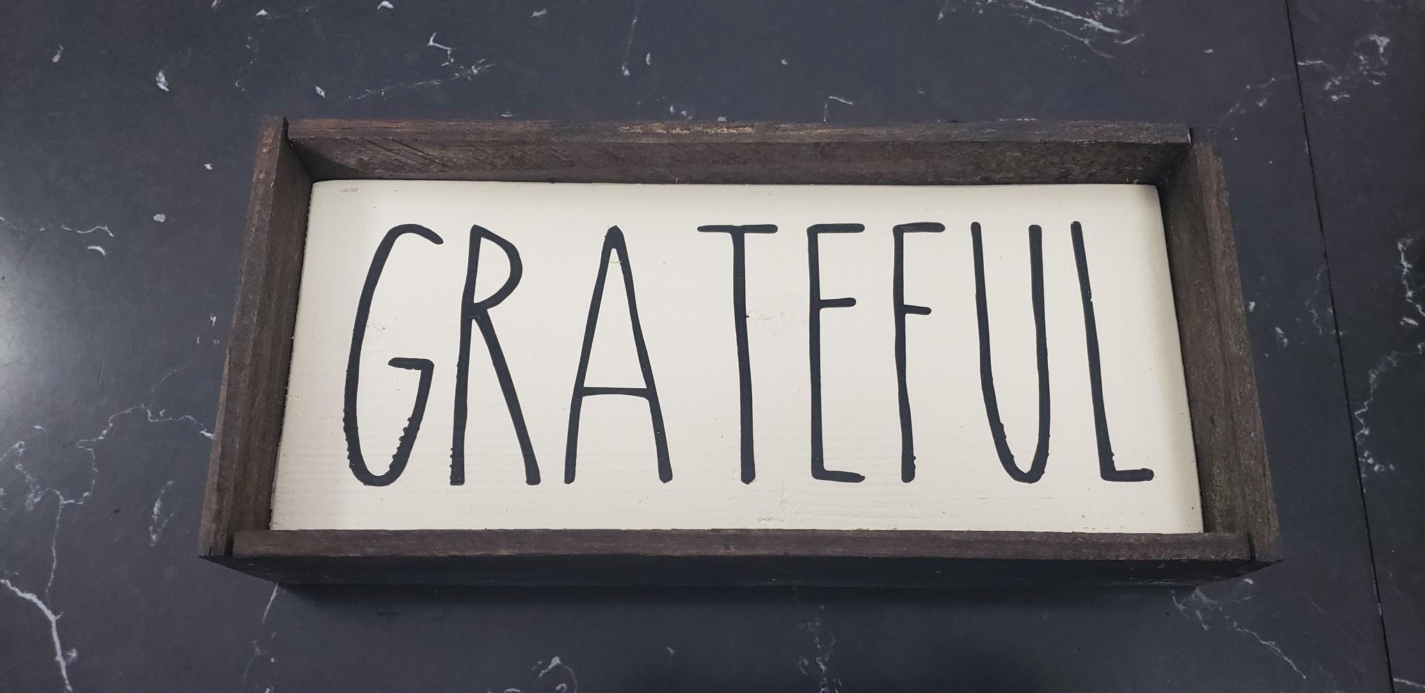 Grateful 3x8 Sign Framed