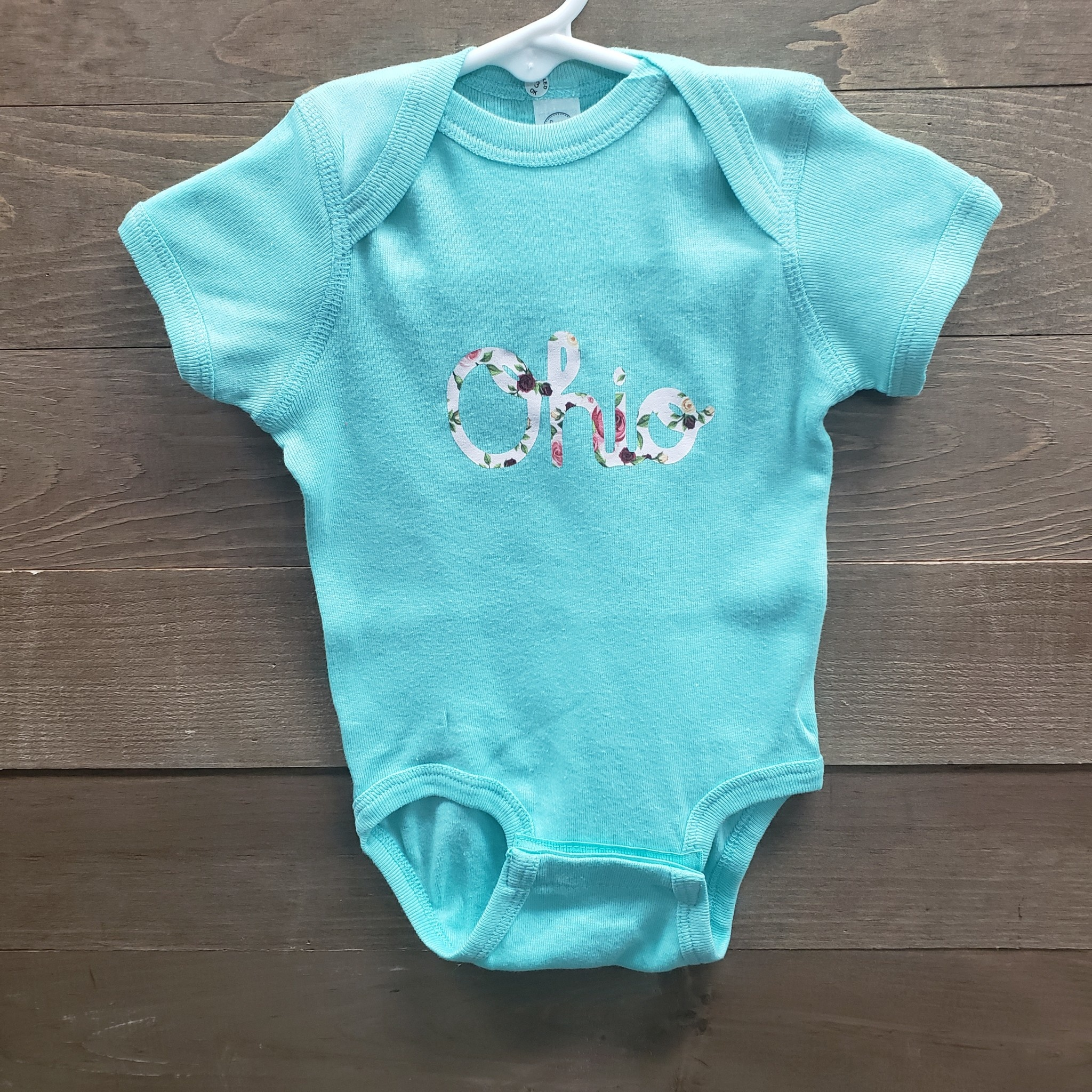 Baby Onesie Teal  with Floral Ohio