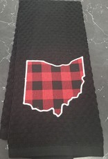 Ohio Towel Black with Buffalo Plaid