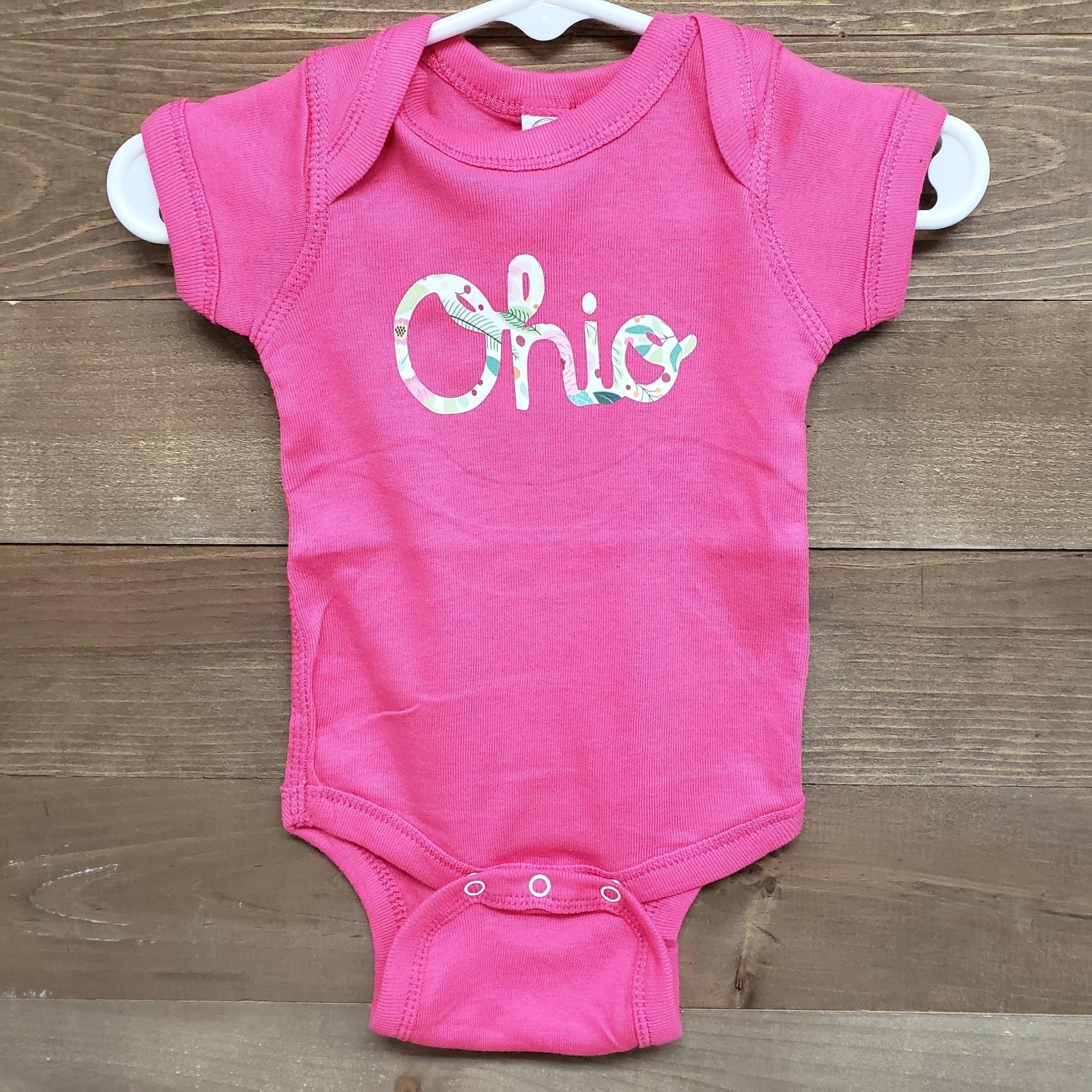 Baby Onsie Pink Floral Ohio