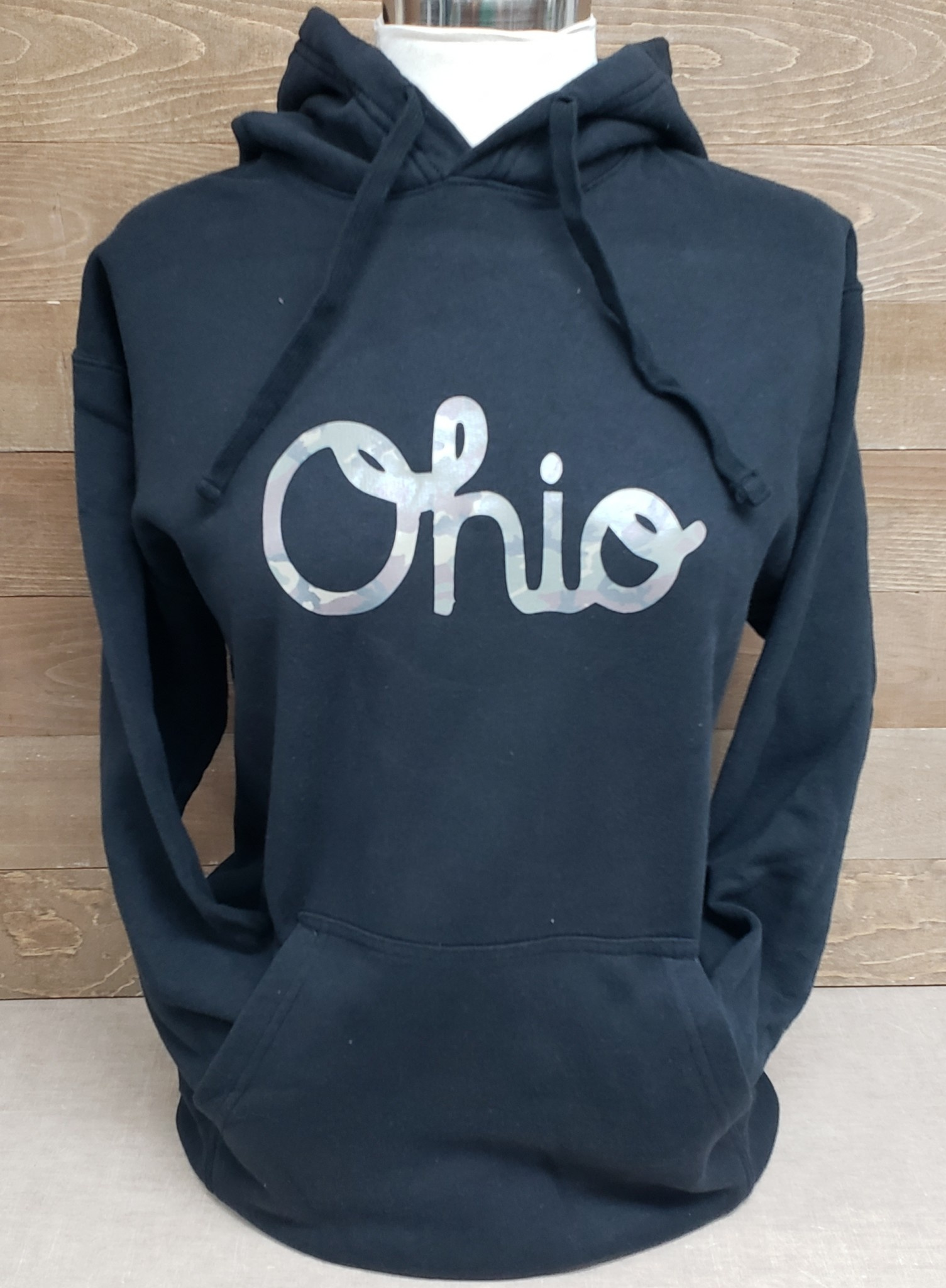 Ohio Script Camo Black Hooded Sweatshirt
