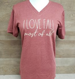 I LOVE FALL most of all V Neck Tee