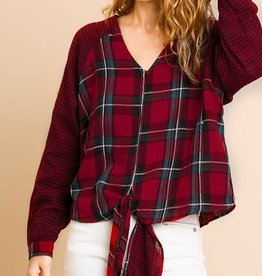 Macie Checkered V Neck
