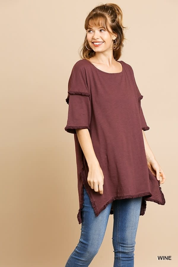 MARYBETH HIGH LOW FRINGED TUNIC