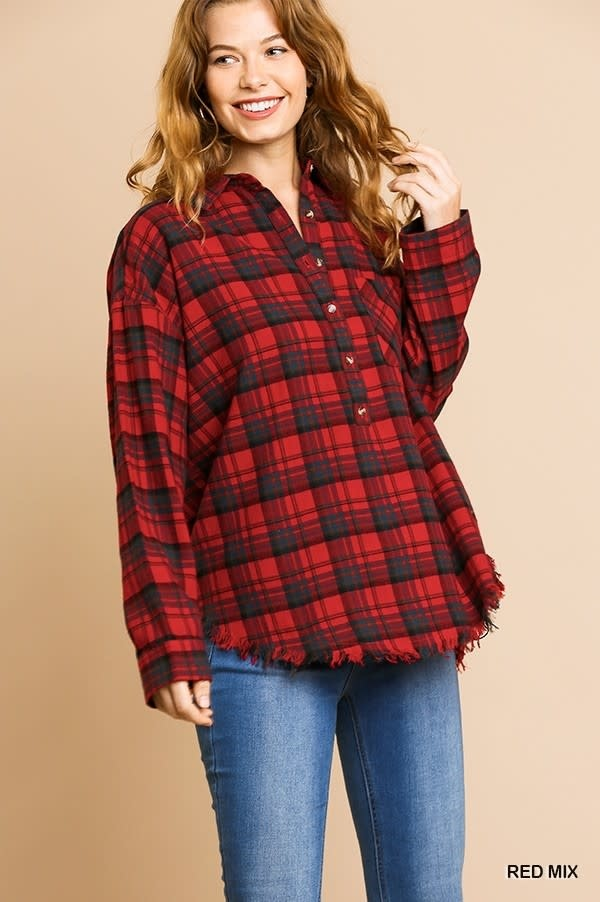 SILVIA PLAID PRINT TOP
