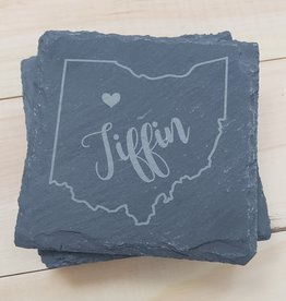 Square Slate Ohio Heart Tiffin Coasters