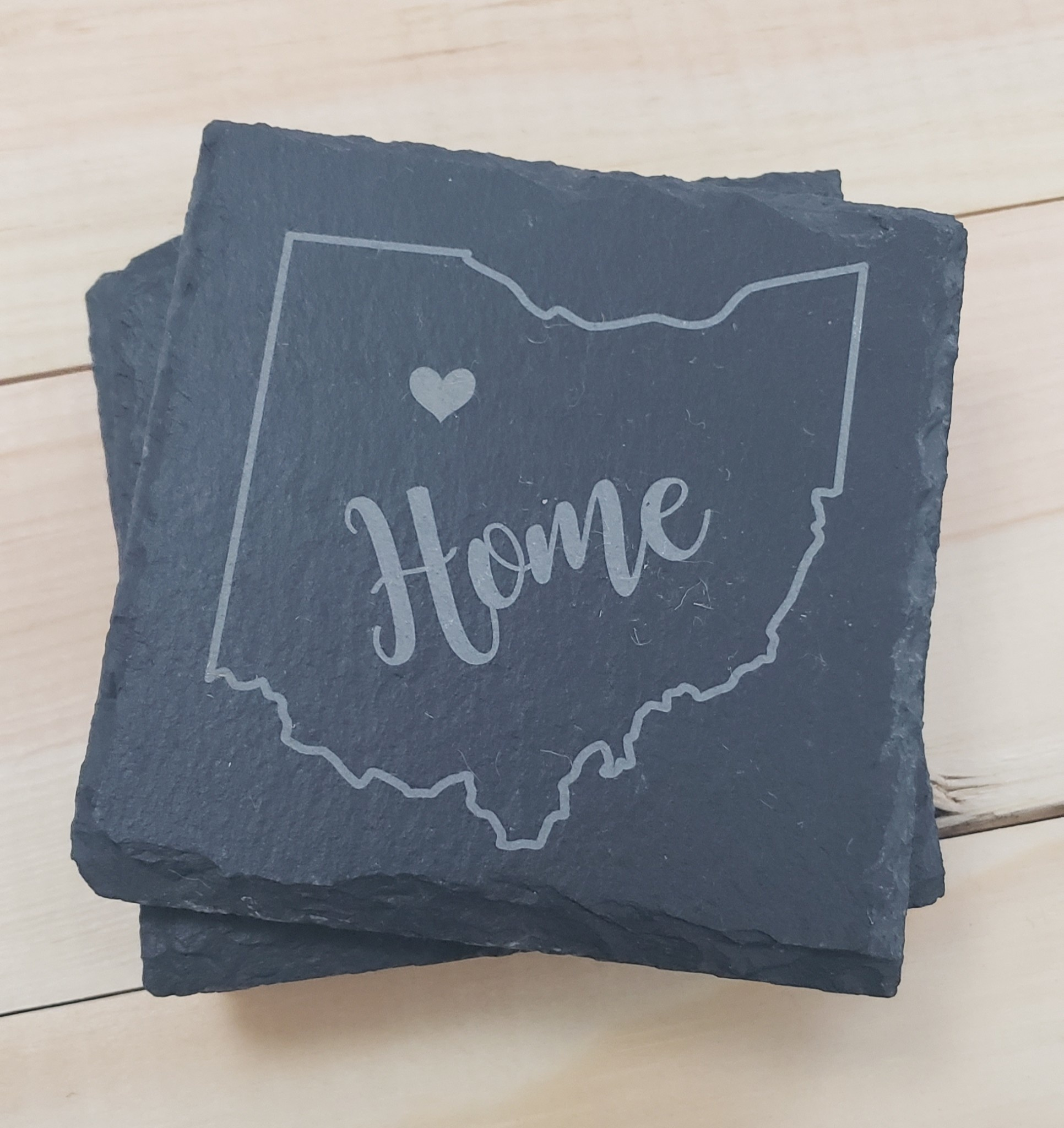 Square Slate Ohio Heart Home Coasters