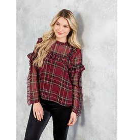RAMONA RUFFLE TOP RED PLAID