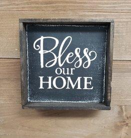 6x6 Bless Our Home Black Framed