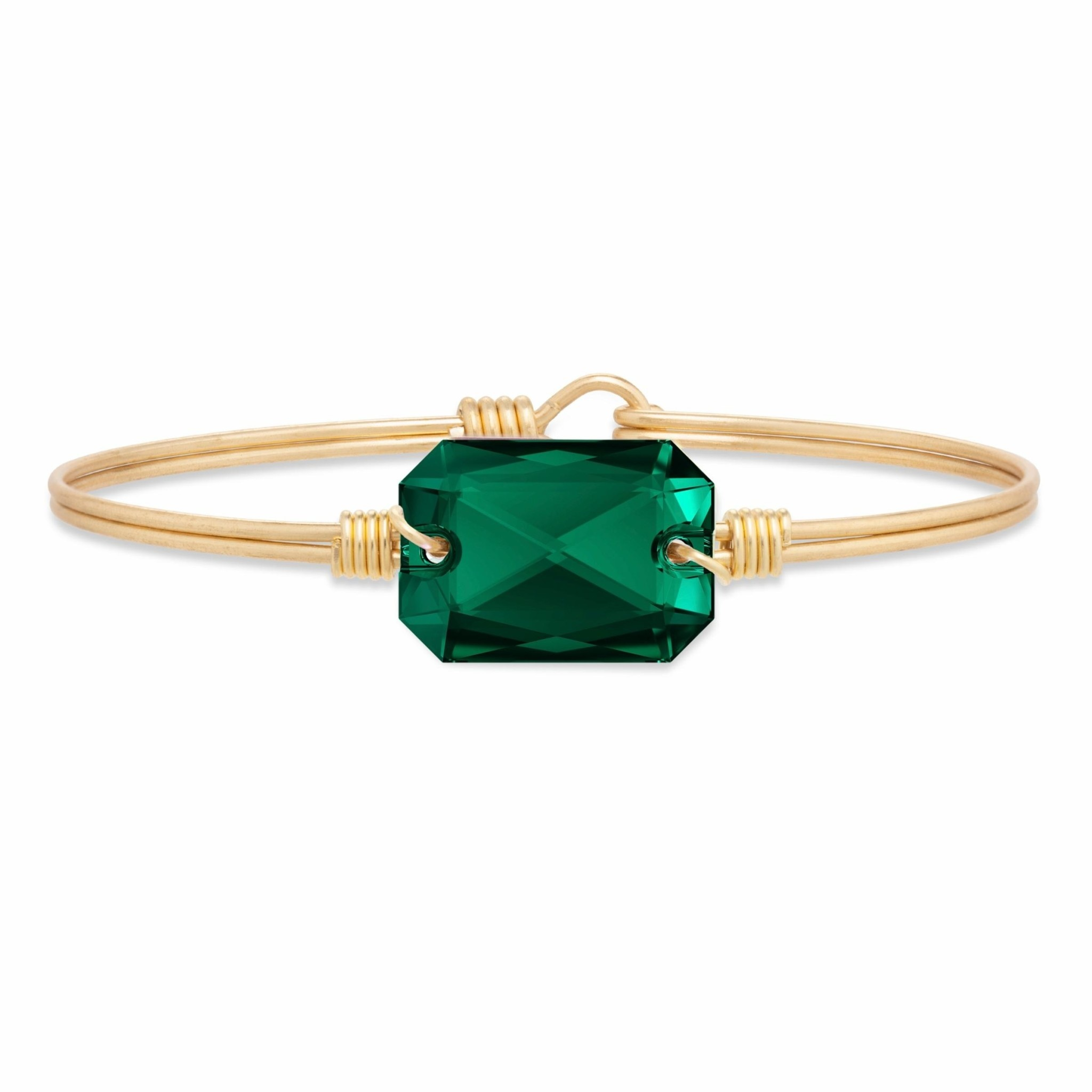 Dylan Bangle Emerald on Brass