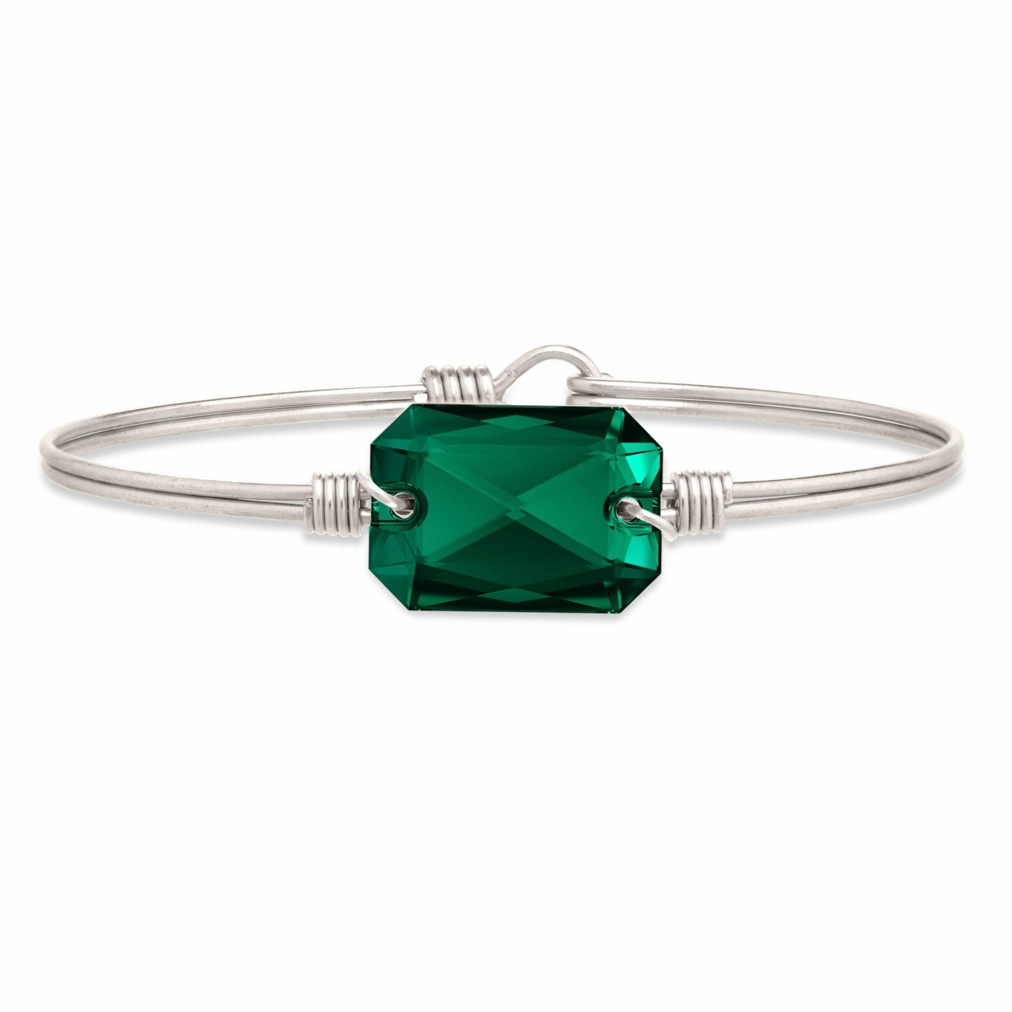 Dylan Bangle Emerald on Silver