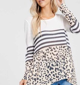 Harper Long Sleeve Striped Leopard Top
