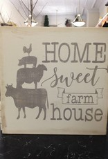 12X12 Home Sweet Farm Grey/Cream Sign
