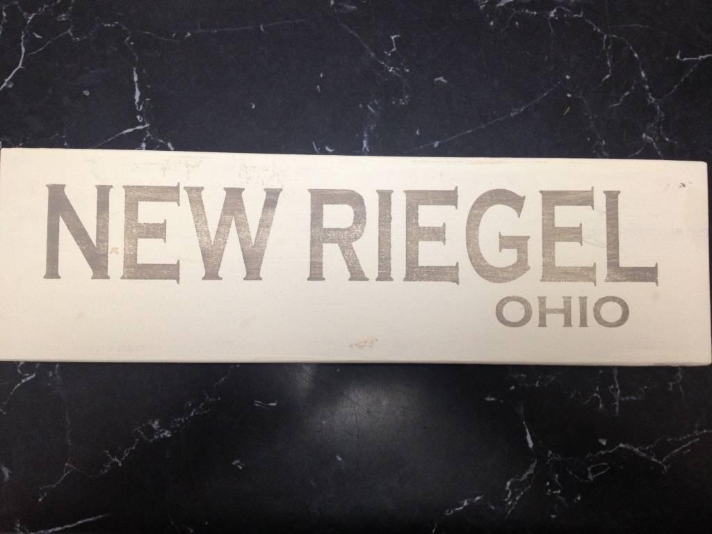 "New Riegel 4""x12"" Grey/Cream Sign"