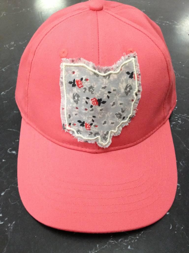 Erin Plaid Ohio Baseball Hat Coral