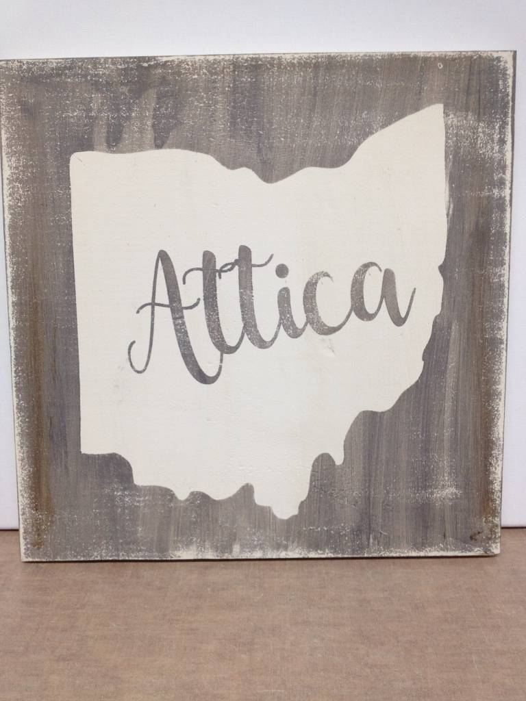 Attica 11.5x11.5  Grey/Cream Sign