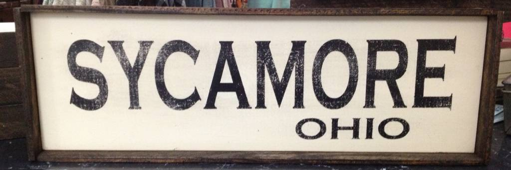 Sycamore Ohio 5.5x17 Framed Sign