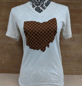 Ohio Plaid Lewis V Neck T Shirt