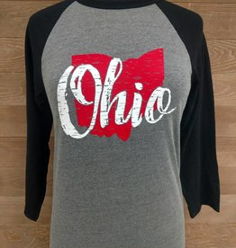 Ohio Gray and Black Baseball Tee