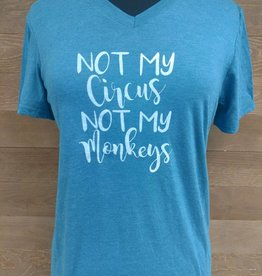 NOT MY CIRCUS TEAL V NECK