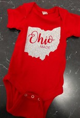 Ohio Made Silver Glitter Red Onesie