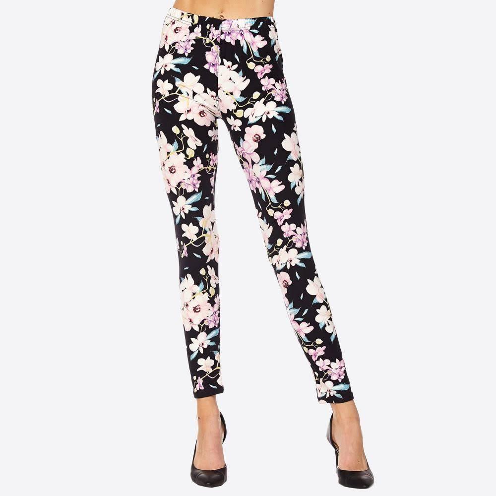 Black w/ Purple Floral Leggings