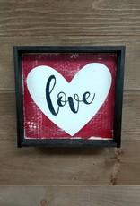 6x6 Love w/ Heart Framed Sign
