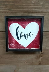 Love w/ Heart 6x6 Framed Sign