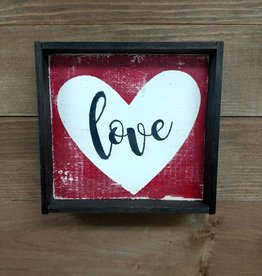 Love w/ Heart 6x6 Framed Sign