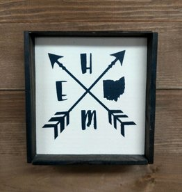 6X6 Home w/ Arrows Framed Sign