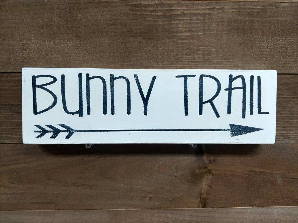 Bunny Trail Cream 4x12 Sign