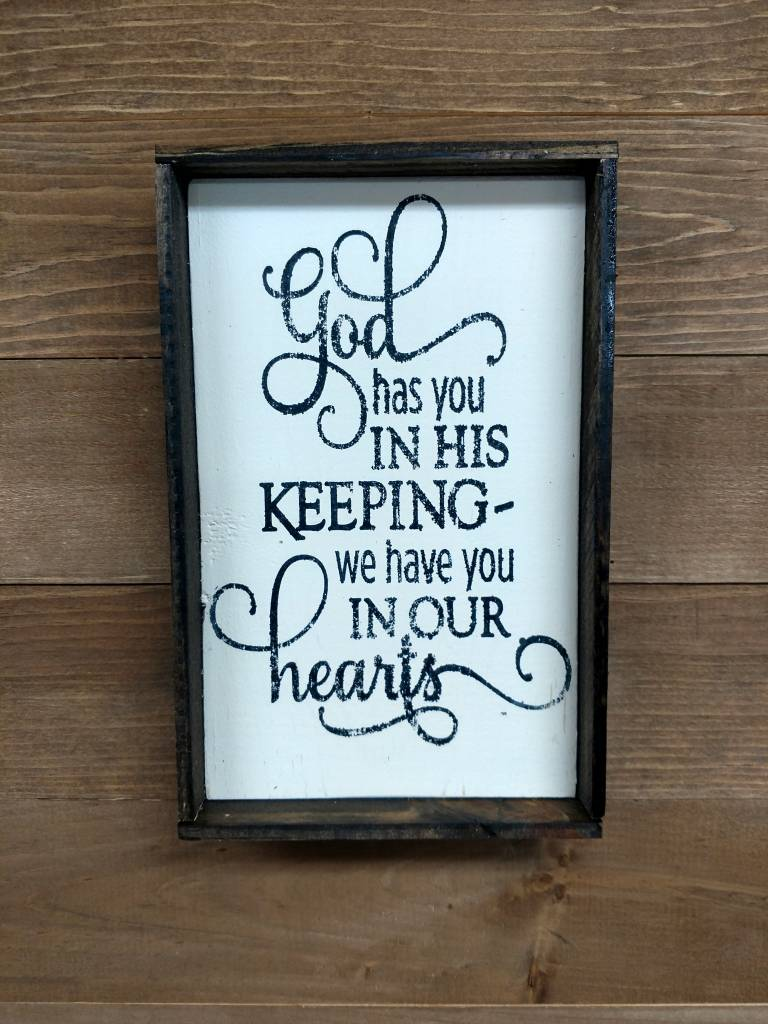6x9 God has you in his keep Framed
