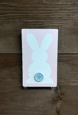 Pink Bunny w/ Button 3.5x5.5 Sign
