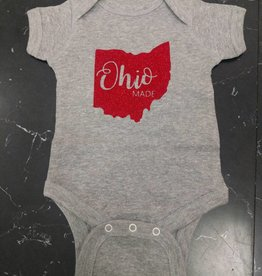 Baby Ohio Made Gray/Red Glitter Onesie