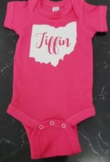 Baby Onesie Pink w/ White Glitter Tiffin