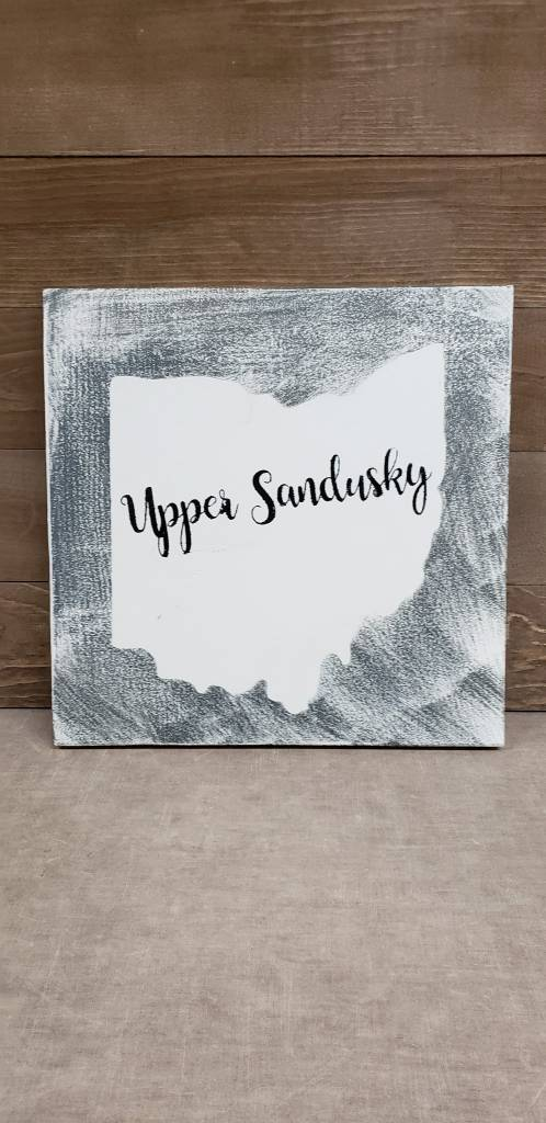 Upper Sandusky Grey/Cream Sign 11.5x11.5
