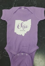 Baby Ohio Made Purple/White Onesie