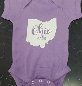 Baby Ohio Made Purple/White Onesie