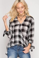 Long Sleeve Surplice Plaid Top w/ Sleeve Ties