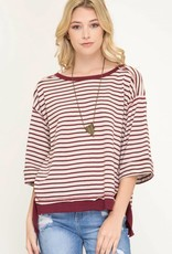 3/4 Sleeve Striped Knit Terry Cloth Top
