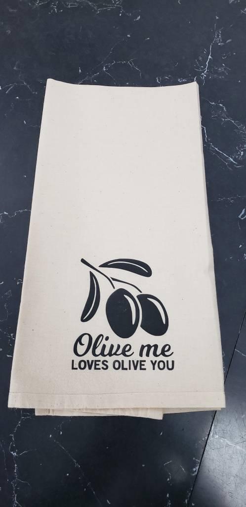 Olive me Loves Olive You Tea Towel