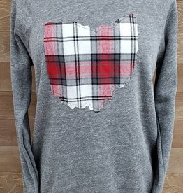 Ohio Plaid Noah Gray Crew Neck Sweatshirt