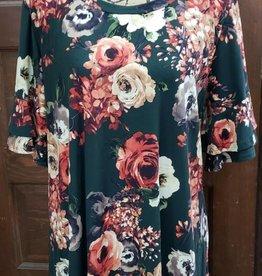 Forest Green Floral Double Bell Sleeve Tunic